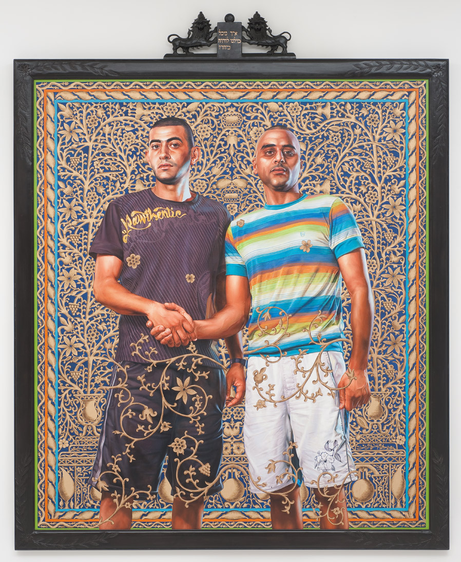 Kehinde Wiley, Abed Al Ashe and Chaled El Awari (The World Stage: Israel), 2011. Oil and gold enamel on canvas, 114 x 92 ¼ in. (framed). Courtesy of the artist and Roberts & Tilton, Culver City, California.