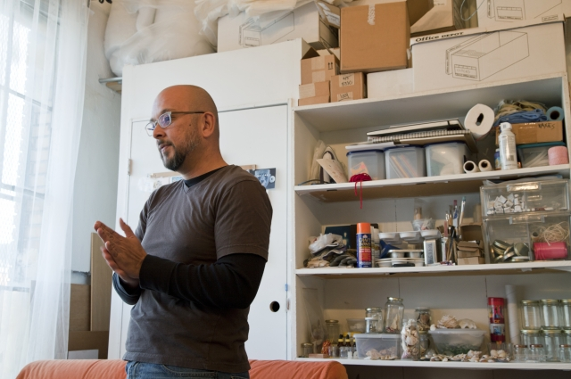 Modesto Covarrubias in his studio. 2012. Photo: Torreya Cummings